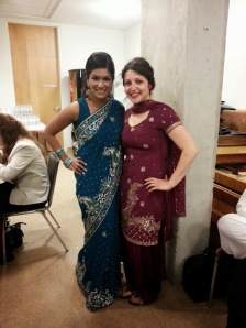 My friend (left) and I in traditional dress at the Toronto Buddhist Church.