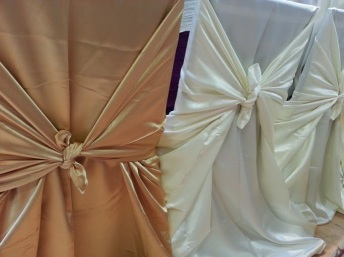 Gold and silver chair covers at the Toronto Buddhist Church.