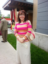 My mom outside the Toronto Buddhist Church after the ceremony.