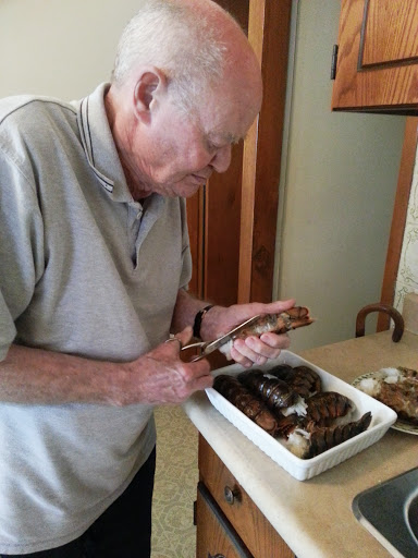My Nonno preparing for our Father's Day dinner on Saturday night - cleaning lobster tails before they went on the BBQ.
