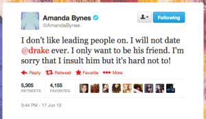 Amanda Bynes tweeting awkward things about Drake.