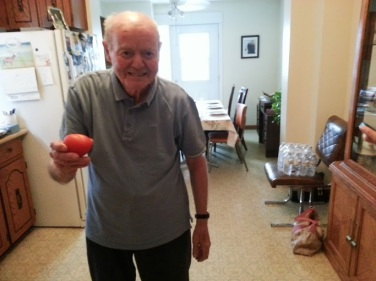My Nonno the trickster fooling everyone in the house by telling us he already picked a red tomato. Little did we know...