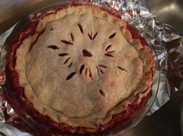 Momma's homemade strawberry rhubarb pie.