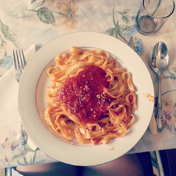 """Been saving my @gastropost entry for today's Sunday lunch: Pasta with homemade tomato sauce with hot pepper flakes on top. @nationalpost"""