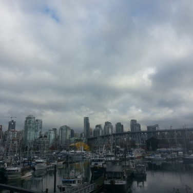 This photo was taken at Creekside Park, a small resting area a short walk away from Granville Island. I love how the sky looks and how the Granville Island and downtown Vancouver shores meet so perfectly.