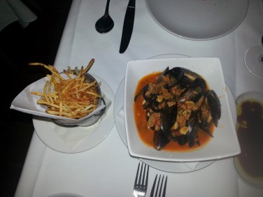 Photos with flash don't look the greatest when taken from a cell phone, but I had to document how amazing these mussels were from Q4, a fancy Italian restaurant in Kitsilano. Stop by and try them the next time you're out west. You won't be disappointed.