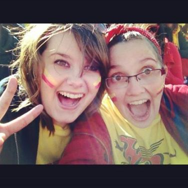 Amanda and her friend Erin at the University of Guelph homecoming.