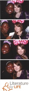 Kaaleen Joseph and Meaghan DeClerq, A Quarter Young contributors, having fun in the photo booth at the Read & Believe fundraiser on May 15.