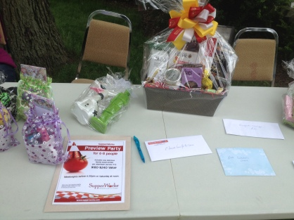 The prize table at Paws for a Cause on June 14.