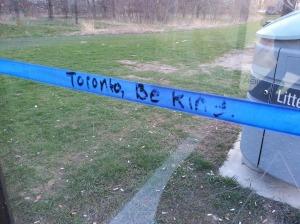 Bus stop graffiti at Lake Shore Blvd W and Kipling Ave in Etobicoke, Ontario. Photo by Leviana Coccia.