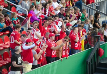 Team Canada fans start the game with cheers!