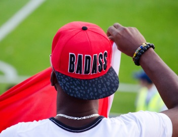 "Super-Ghana fan with his ""Badass'"" hat."