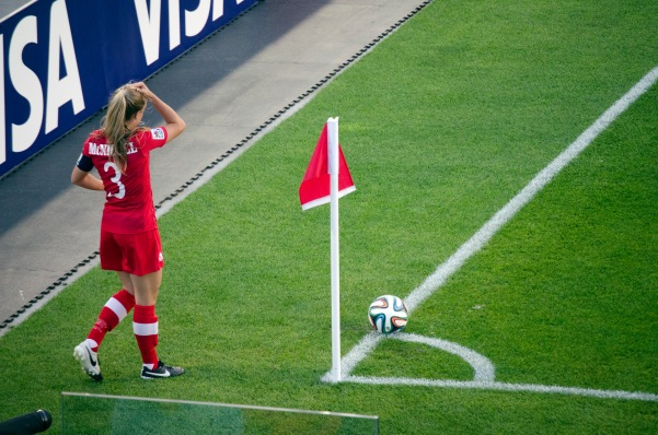 Captain Kinley McNicoll taking the first of many corner kicks for Team Canada.