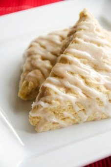 Homemade pumpkin spice scones with a nutty glaze.