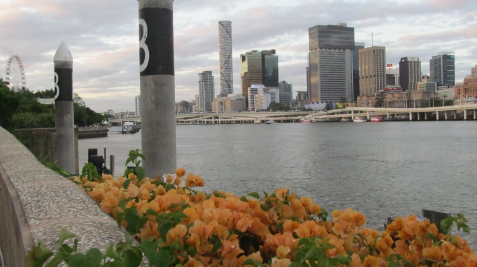 In South Bank, Brisbane looking onto the city over the Brisbane River. Photo by: Leviana Coccia.