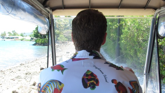 Arriving to Daydream Island on a sea excursion, I was convinced to ride through the island in the back of this festive man's golf cart. Photo by: Leviana Coccia.