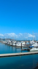 Docked boats at the Abell Point Marina in Airlie Beach. Photo by: Leviana Coccia.