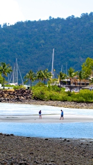 A couple searches for shells when the tide is low at Airlie Beach. Photo by: Leviana Coccia.