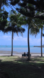 Friends sit underneath the palm trees at Airlie Beach in The Whitsundays. Photo by: Leviana Coccia.