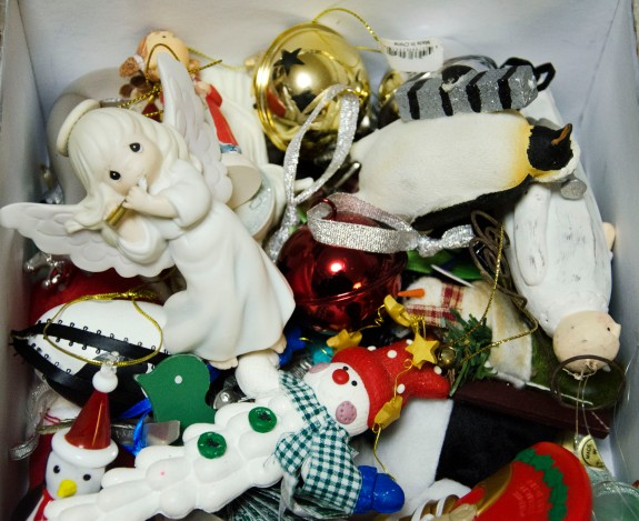 One of the boxes of decorations we have collected over the years.