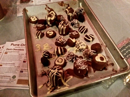 Once all the truffles are decorated, they are put into the fridge to cool down and harden.