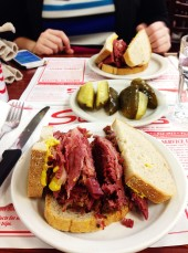Our delicious meals at Schwartz's Deli.