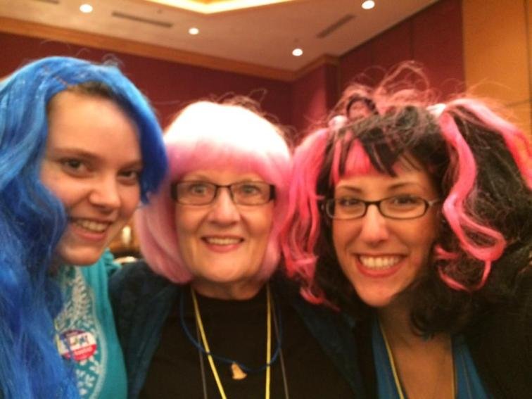 Dressing up in wigs!