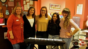 My friends and I (plus a new glee clubber) at A Sharpe Shool of Music.