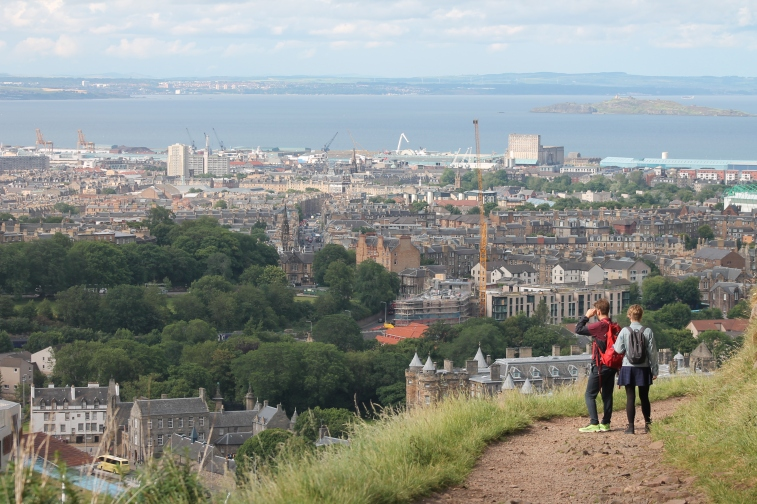 The view from atop Arthur's Seat, looking down into the city of Edinburgh.