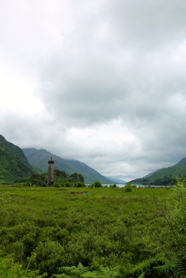 Glenfinnan Monument on Loch Shiel. The opposing view is home to the Glenfinnan Viaduct of Harry Potter fame.