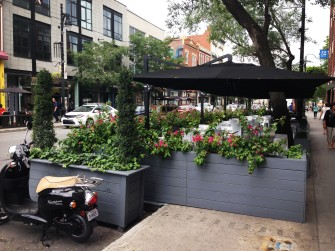 Patio spaces designed to fall into the streets of Montreal.