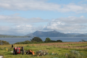 The view from our car of the mainland from the Isle of Skye.