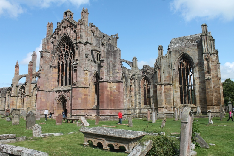 Melrose Abbey, the site of burial for King Robert the Bruce's heart.
