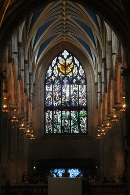Inside St. Giles Cathedral in Edinburgh.