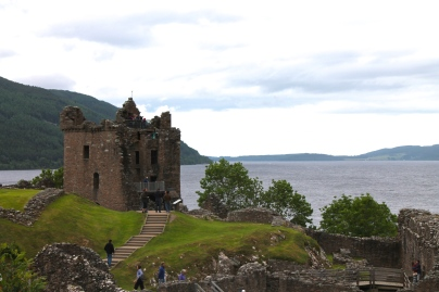 Urquhart Castle, sitting at precisely the deepest point of Loch Ness.