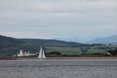 A view of the mountains to the north of Fort George, military base of the Queen's Own Highlanders.