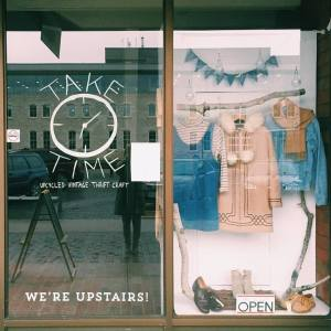 Take Time Vintage's store window on November 13. Via: Take Time Vintage.