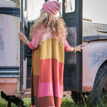 A beautiful bohemian floor-length cardigan. Via: http://www.honeybea.ca/.