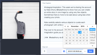 Shot of what custom scheduling looks like in Latergramme. Photo courtesy of: Stephanie Trembath.