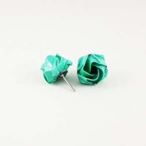 Turquoise origami rose studs. Photo by: FoldIT Creations.