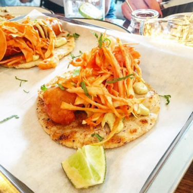 Fried fish taco at Cafetería Playa Cabana. Photo by: @daniellefinest of @tofoodies.