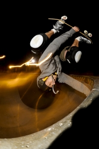 Stephen Sandve on his skateboard. Photo courtesy of: EastVan Bees.