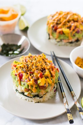 Spicy shrimp stack with mango salsa. Photo courtesy of: Taylor Stinson.