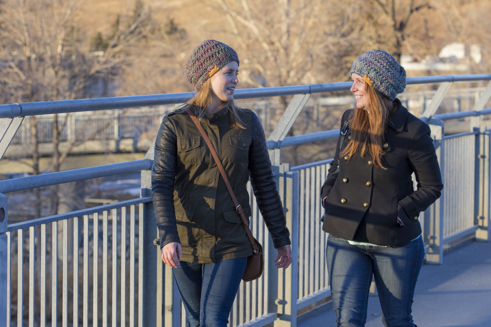 Alexis Poirier with friend Amy. Photo courtesy of Wapta Knitting Co.