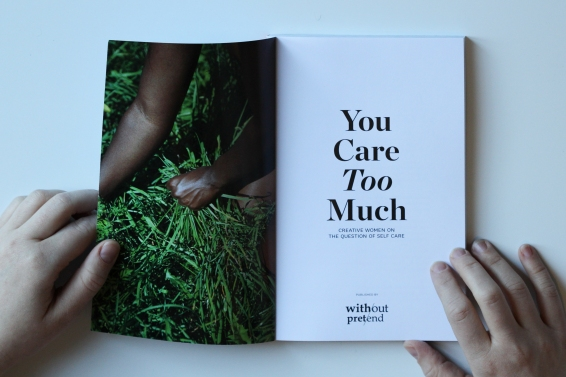 "The inner cover of ""You Care Too Much."" Photo courtesy of: Erin Klassen."