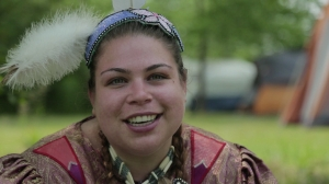 Interviewee Kirsty at a Pow Wow, as filmed in My Millennial Life. Courtesy of Maureen Judge.