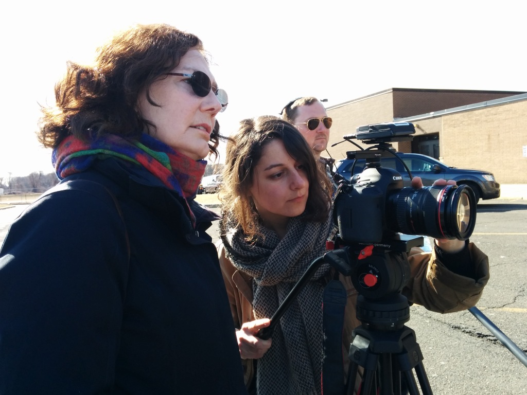 Maureen Judge, director of My Millennial Life, with Maya Bankovic, Director of Photography and Jeremy Stone, sound, filming with Hope. Courtesy of Maureen Judge.