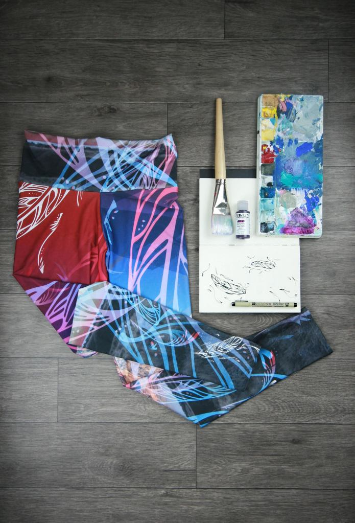 This is the artwork and the mediums used for the yoga leggings Kristina is wearing in the featured photo above, Kristina is wearing. They are called Featherscape and are part of the 2017 Collection. it would work well with a Photo by: Kelly Funk Photography.